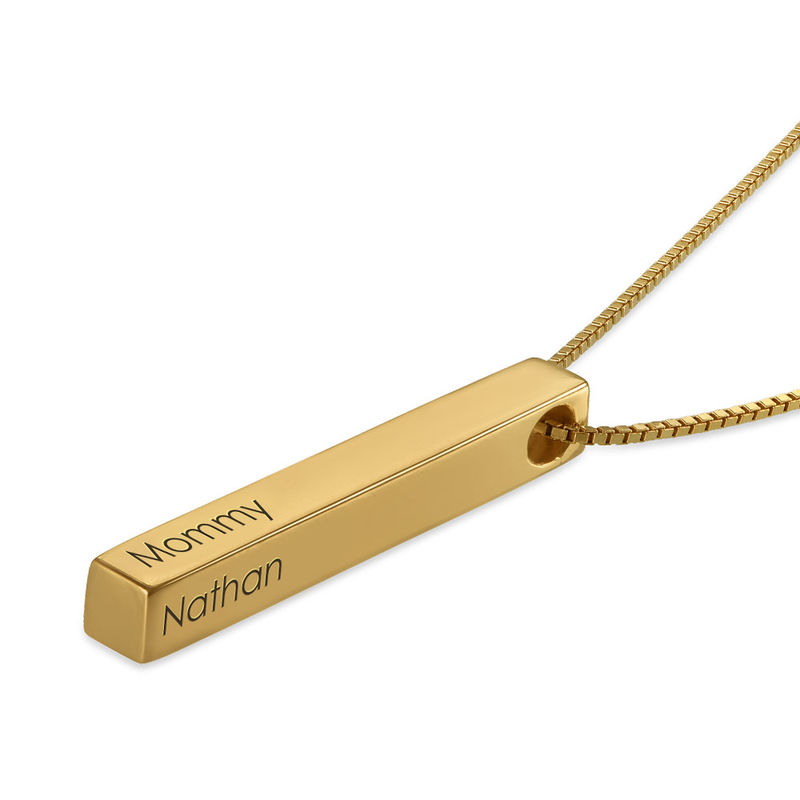 Dimensional Love 3D Bar Necklace in 18k Gold Plating - 1