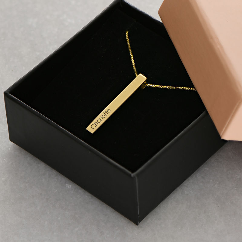 Dimensional Love 3D Bar Necklace in 18k Gold Plating - 6