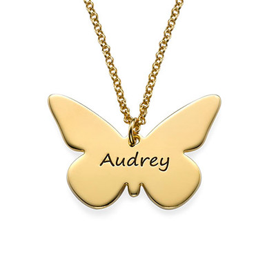Engraved 18ct Gold Plated Pendant - Butterfly