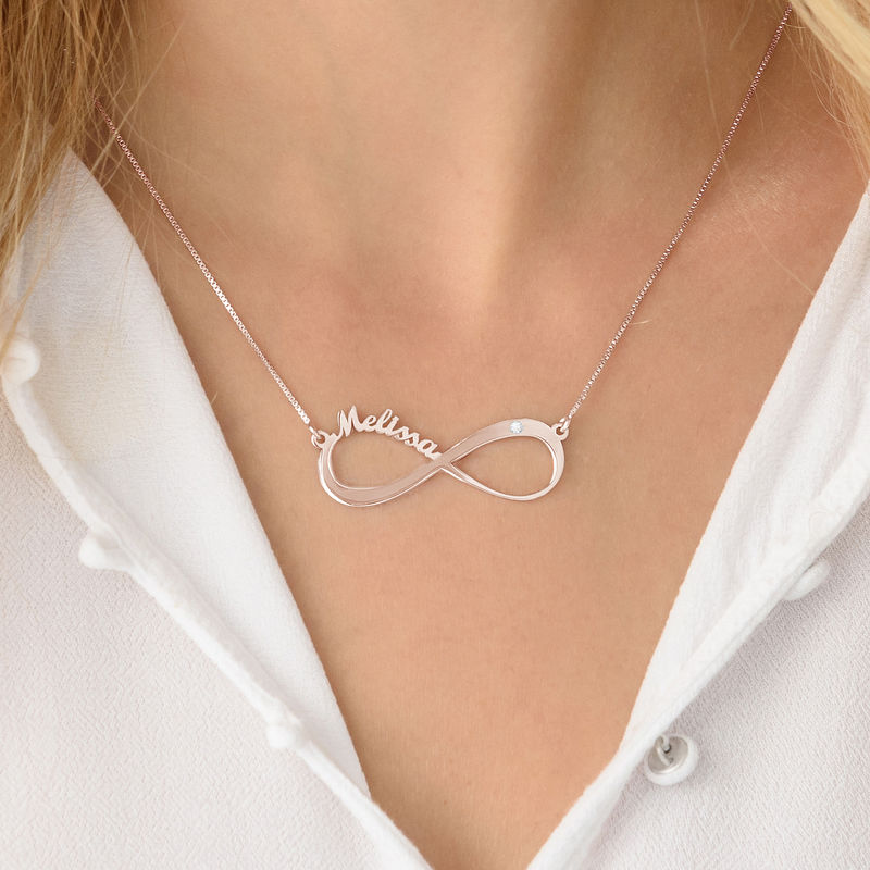 Infinity Name Necklace Rose Gold Plated with Diamond - 1 - 2 - 3