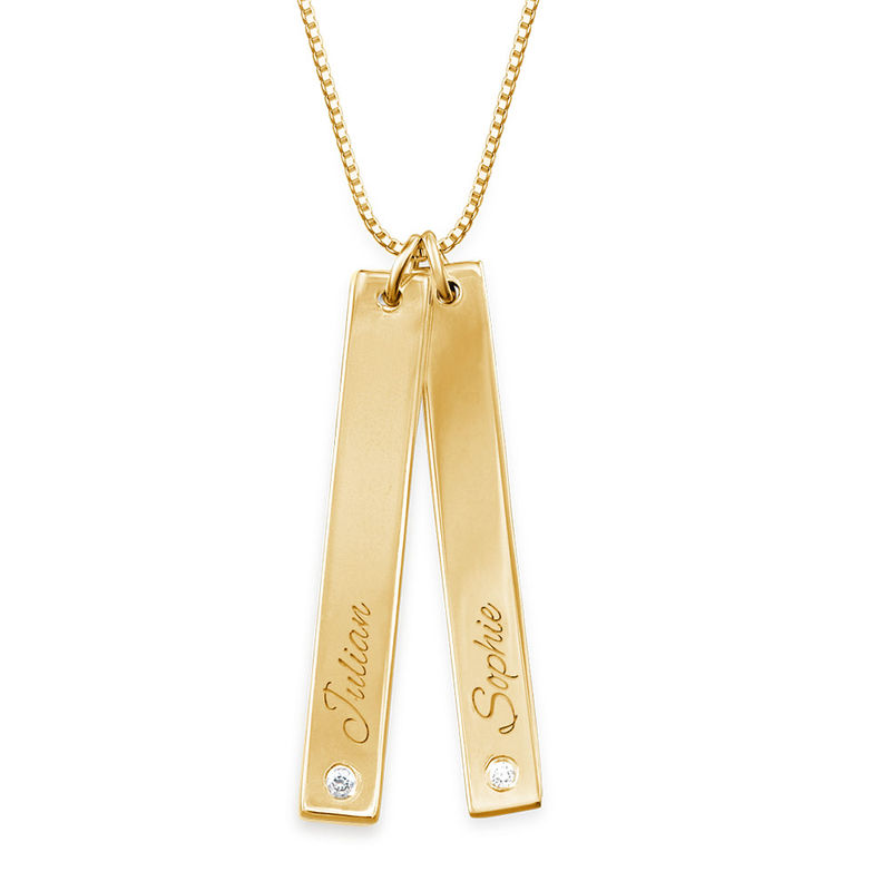 Vertical Bar Necklace Gold Plated with Diamond