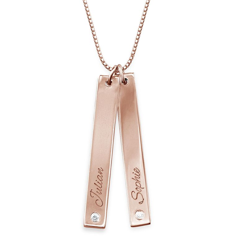 Vertical Bar Necklace Rose Gold Plated with Diamond