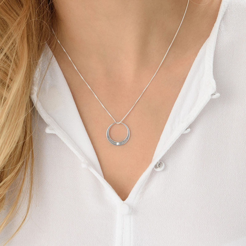 Circle Sterling Silver Diamond Necklace - 2