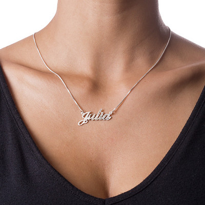 Sparkling Diamond-Cut Silver Classic Name Necklace - 1