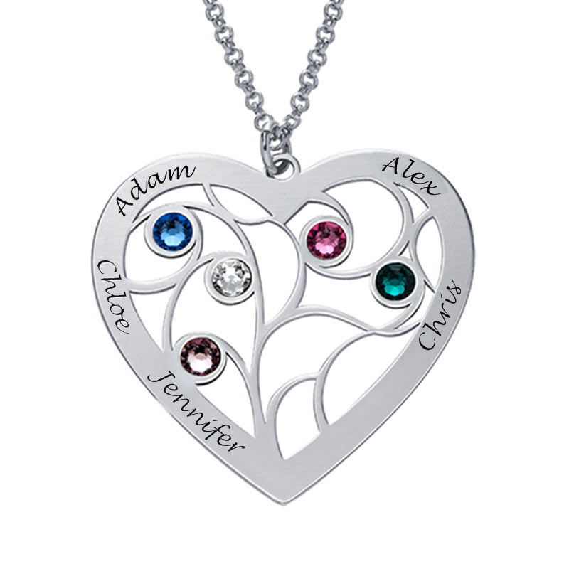 Heart Family Tree Necklace with birthstones in Sterling Silver