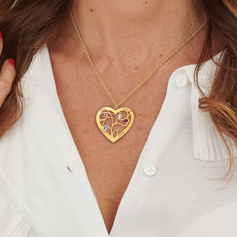 Heart Family Tree Necklace with birthstones in Gold Plating - 5