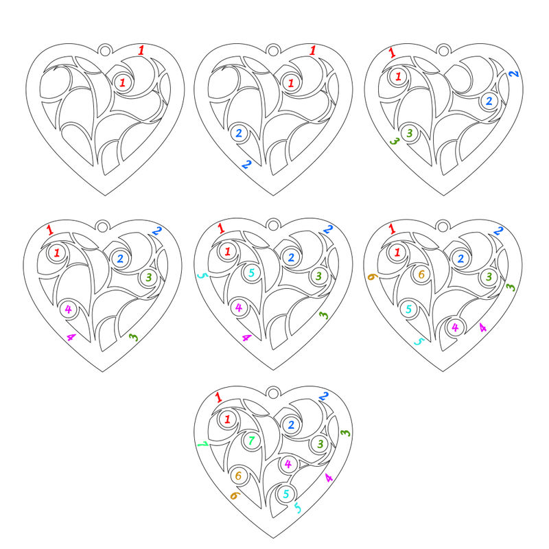Heart Family Tree Necklace with birthstones in Gold Plating - 1 - 2 - 3 - 4 - 5 - 6 - 7
