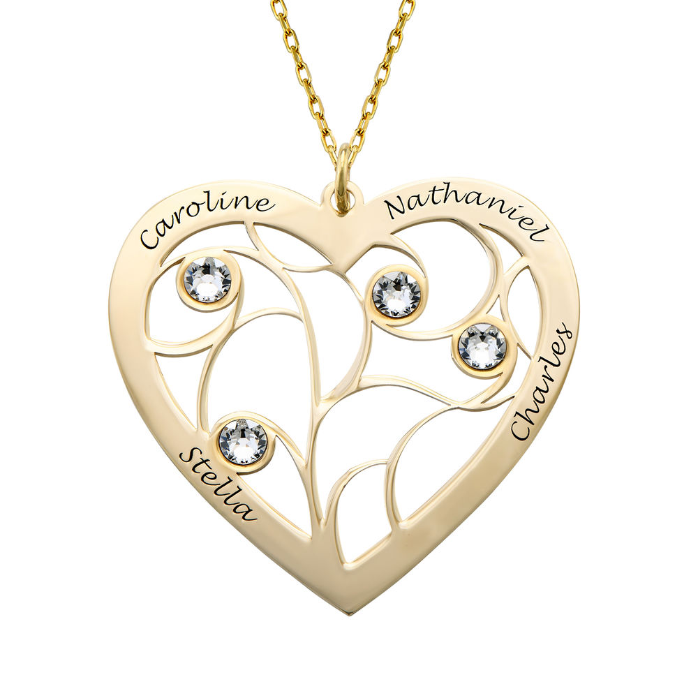 Heart Family Tree Necklace with Birthstones in Gold 10ct
