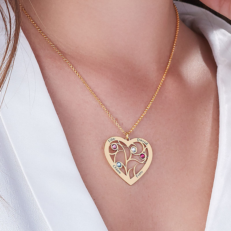 Heart Family Tree Necklace with Birthstones in Vermeil - 5