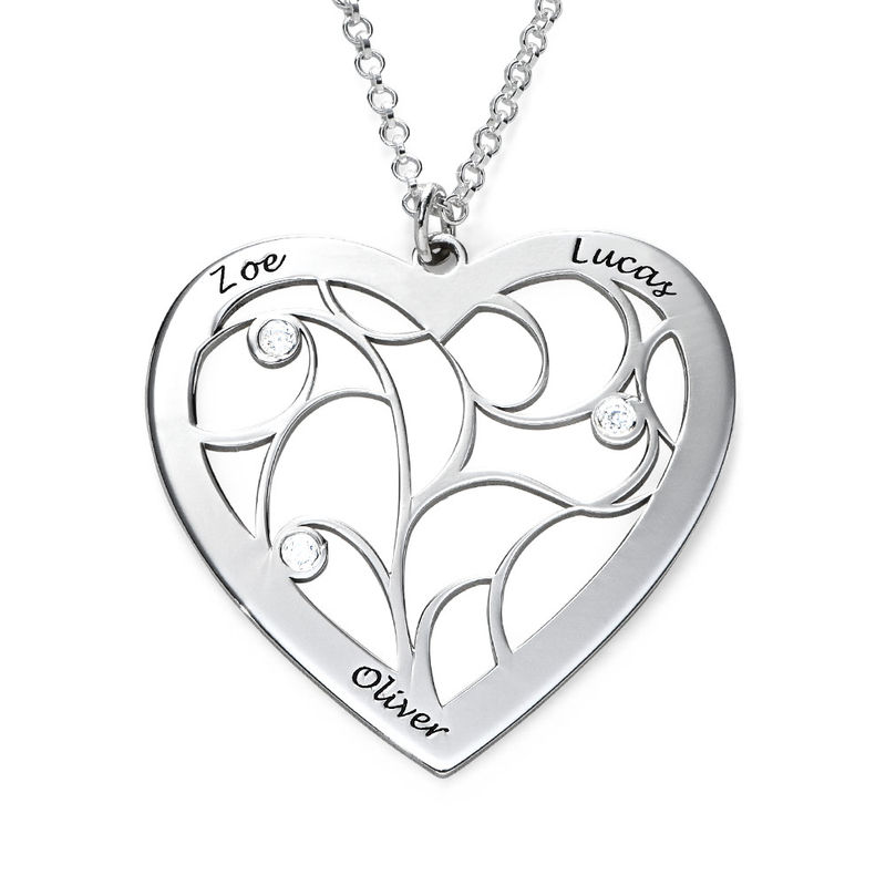 Heart Family Tree Necklace with Diamonds in Silver Sterling
