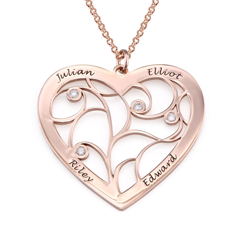 Heart Family Tree Necklace with Diamonds in Rose Gold Plating