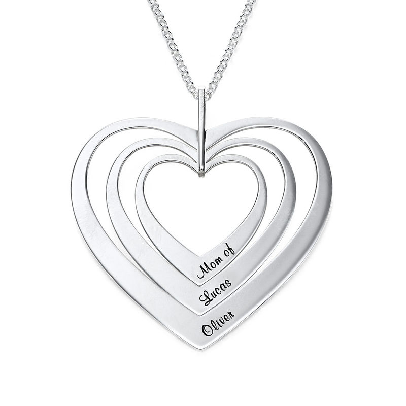 Family Hearts Necklace in Silver Sterling - 1
