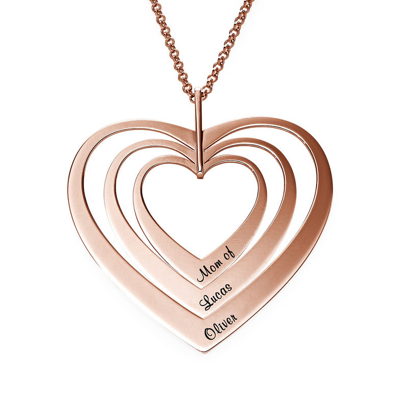Family Hearts Necklace in Rose Gold Plating - 1