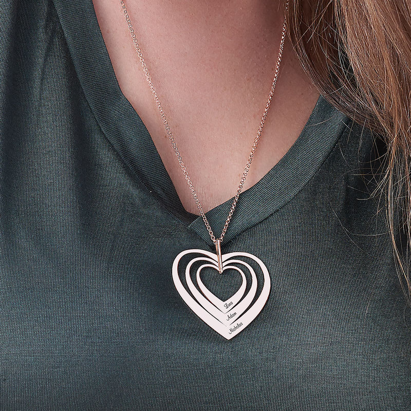 Family Hearts Necklace in Rose Gold Plating - 1 - 2 - 3