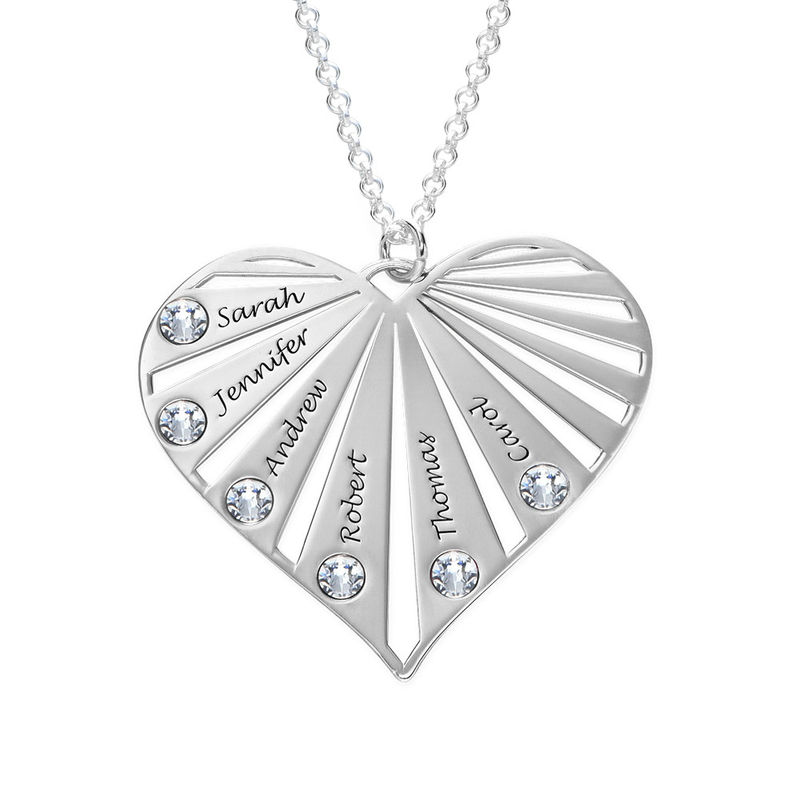 Family Necklace with birthstones in Silver Sterling - 1
