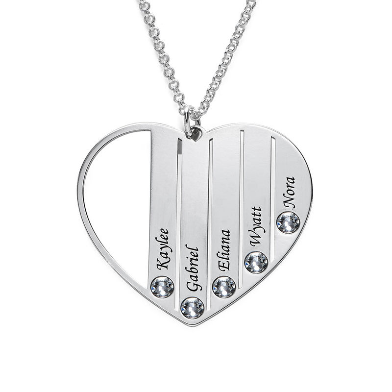 Mum Birthstone necklace in Silver Sterling - 1 - 2