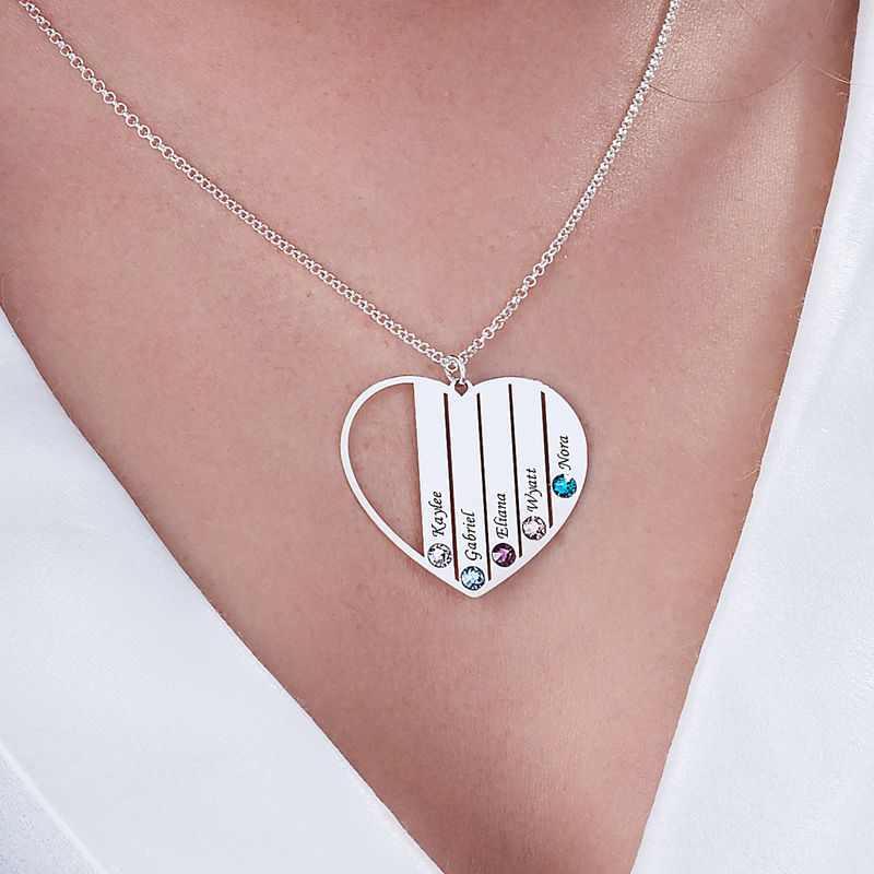 Mum Birthstone necklace in Silver Sterling - 5