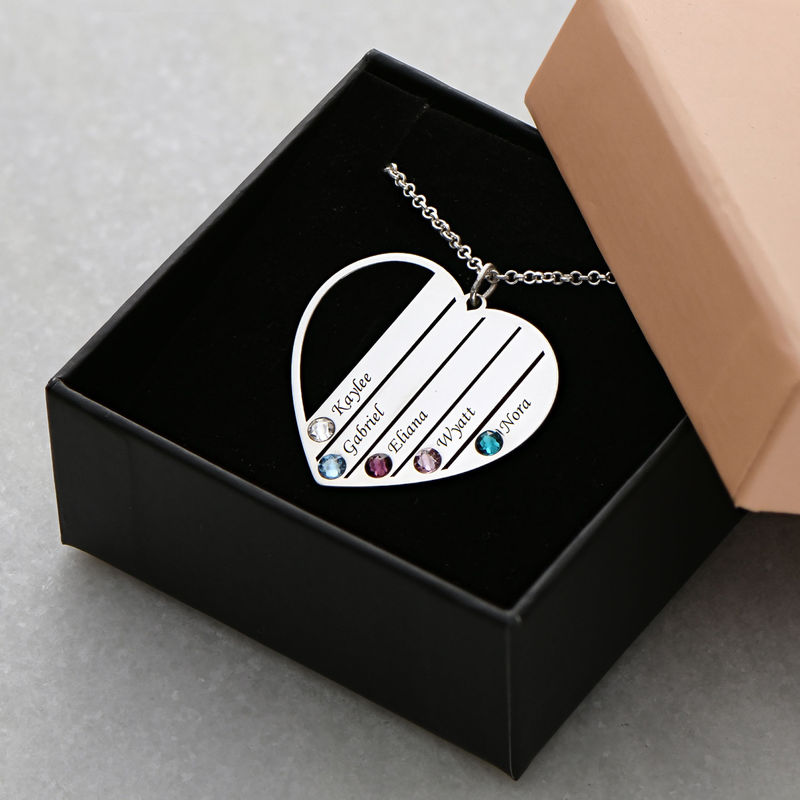 Mum Birthstone necklace in Silver Sterling - 1 - 2 - 3 - 4 - 5 - 6
