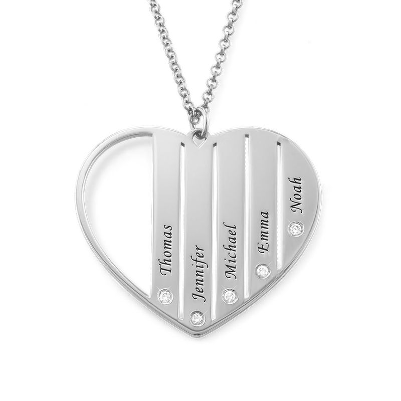 Mum Necklace in Silver with Diamonds - 1