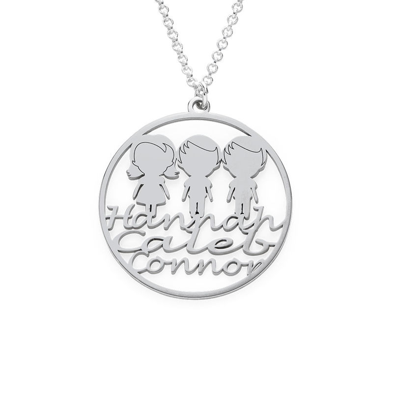 Mother Circle Necklace in Silver Sterling