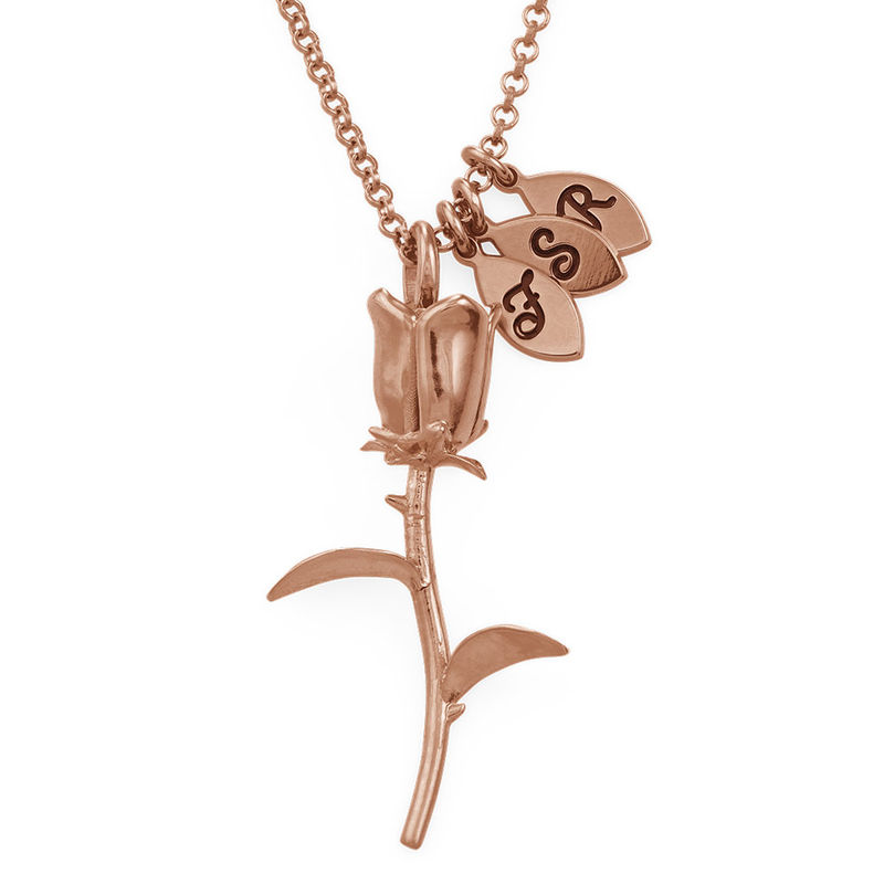 Rose Necklace with Initial charms in Rose Gold Plating
