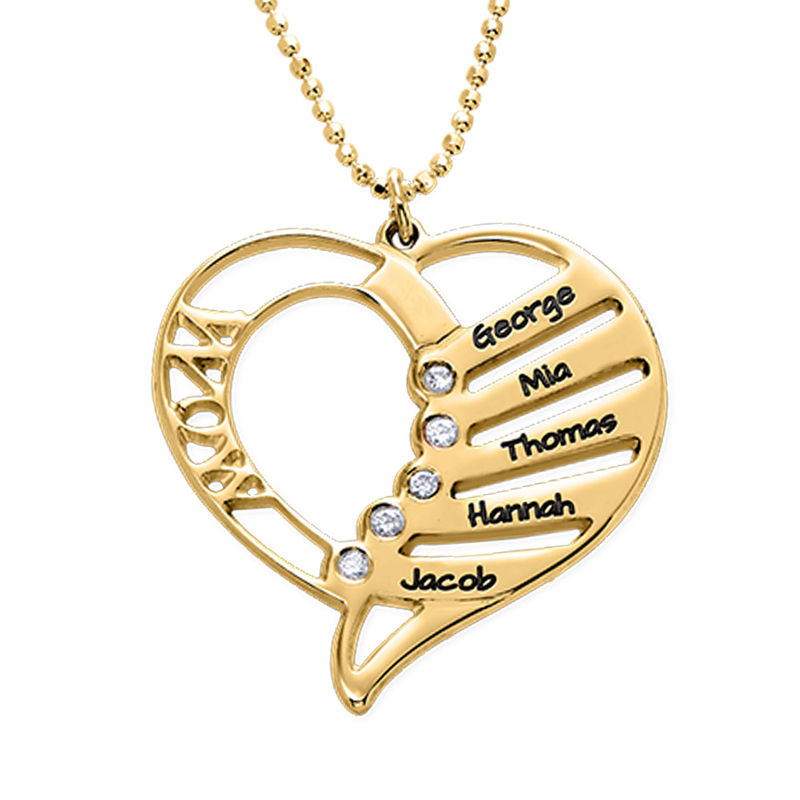 Engraved Mum Necklace with Diamonds in Gold plating