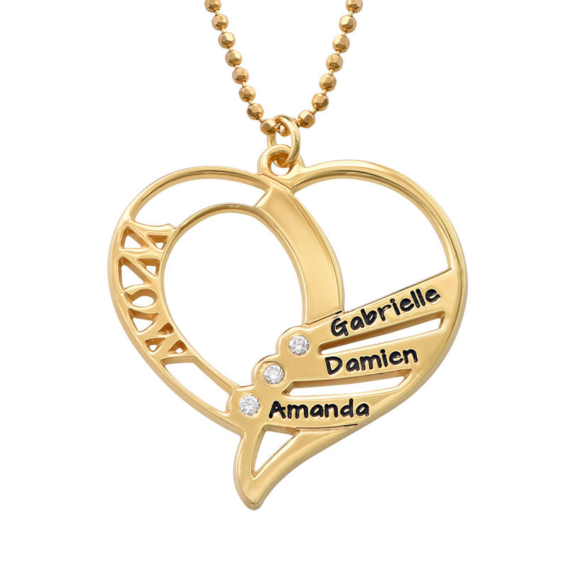 Engraved Mum Necklace with Diamonds in Gold plating - 1
