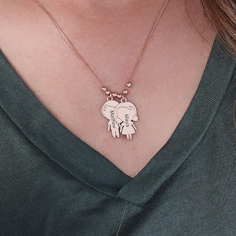 Mum Necklace with Children Charms in Rose Gold Plating - 3