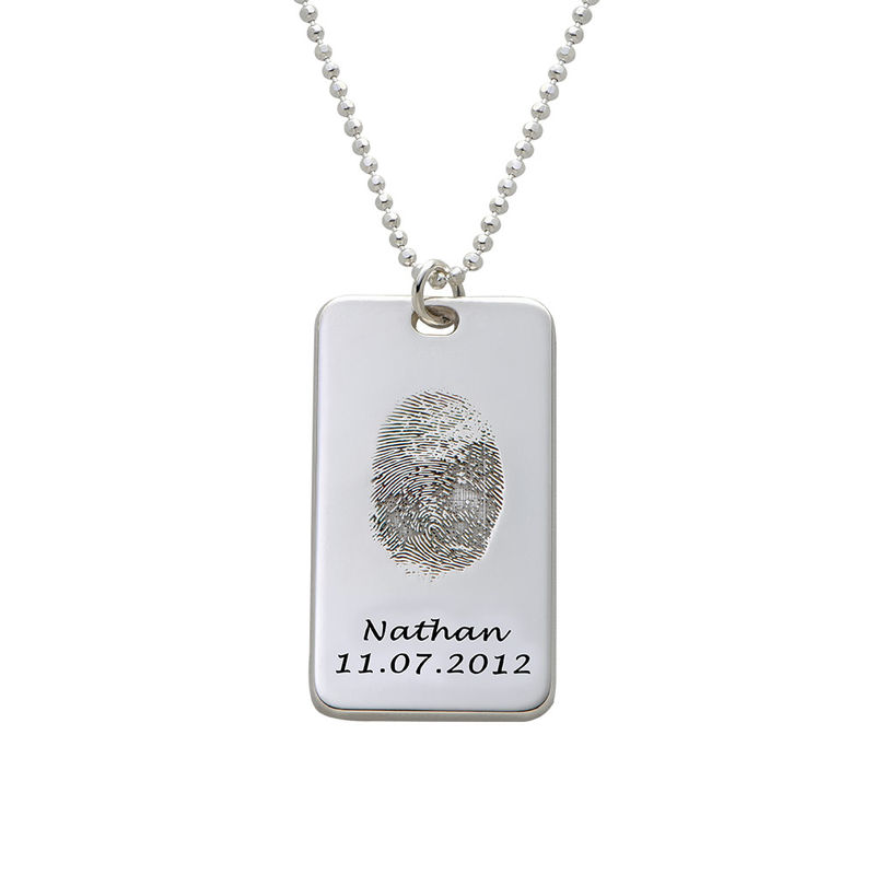 Fingerprint Dog Tag Necklace in Sterling Silver