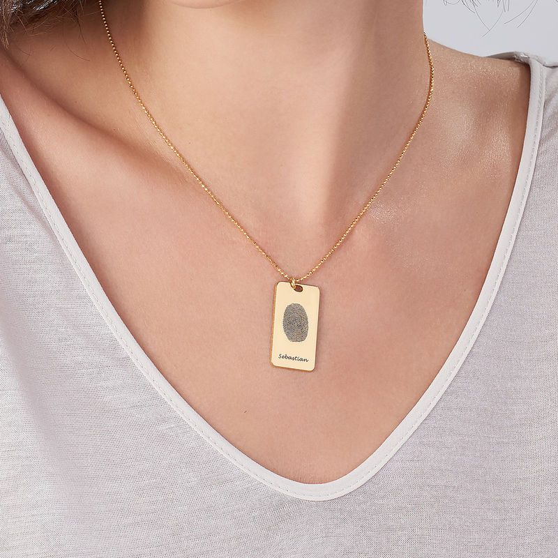 Fingerprint Dog Tag Necklace with 18ct Gold plating - 2