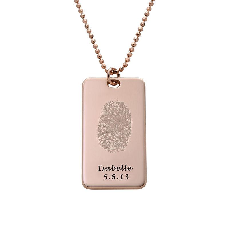 Fingerprint Dog Tag Necklace with 18ct Rose Gold plating