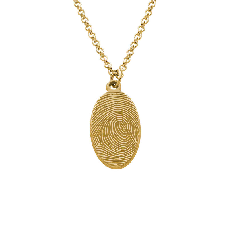 Fingerprint Oval Necklace with 18ct Gold plating