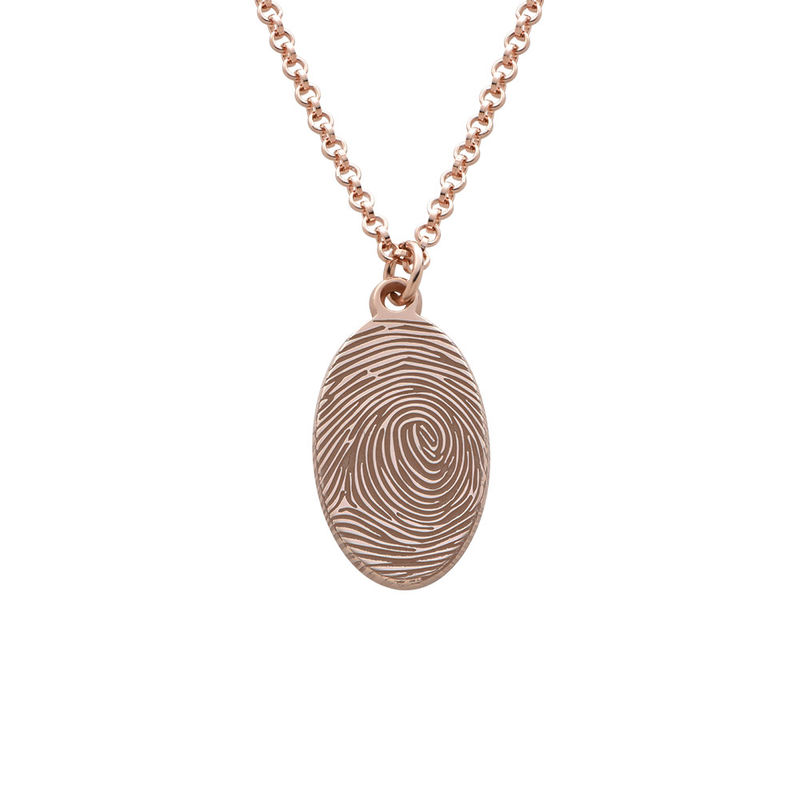 Fingerprint Oval Necklace with 18ct Rose Gold plating