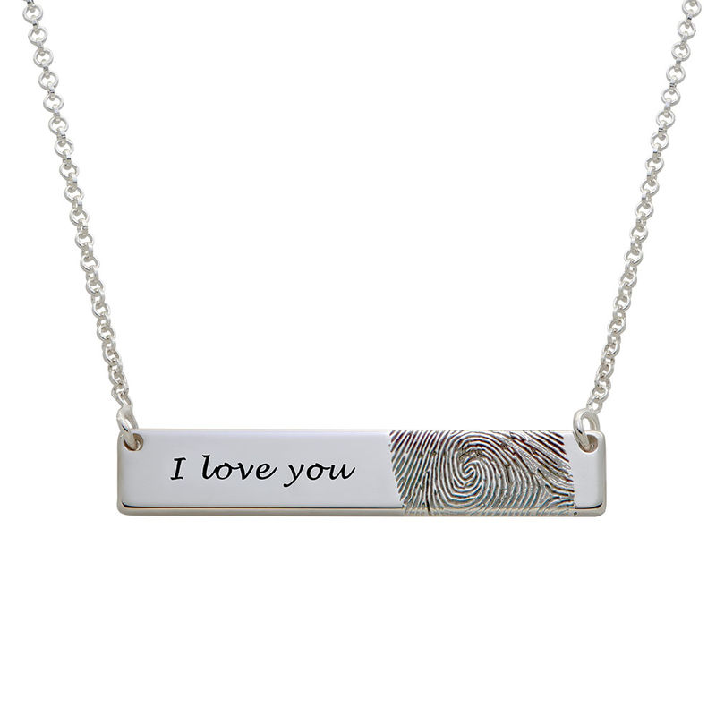 Fingerprint Bar Necklace in Sterling Silver