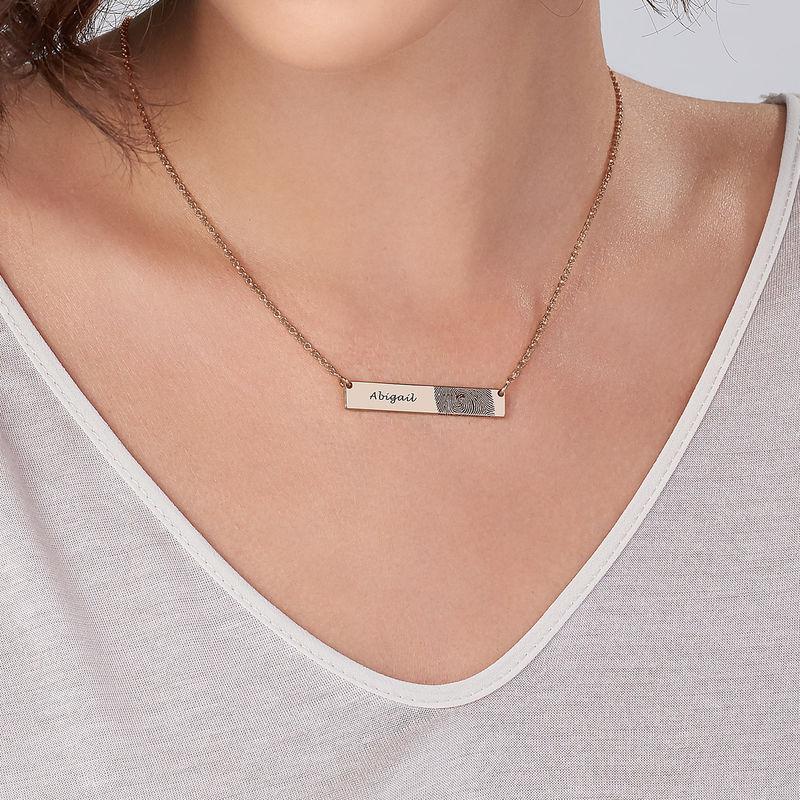 Fingerprint Bar Necklace with 18ct Rose Gold plating - 2