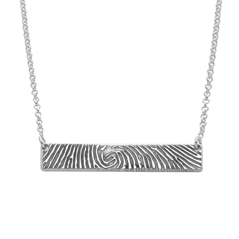 Fingerprint Bar Necklace with Back Engraving in Sterling Silver