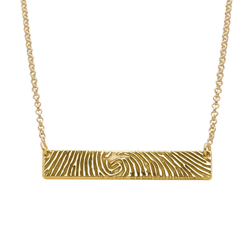 Fingerprint Bar Necklace with Back Engraving in 18ct Gold Plating