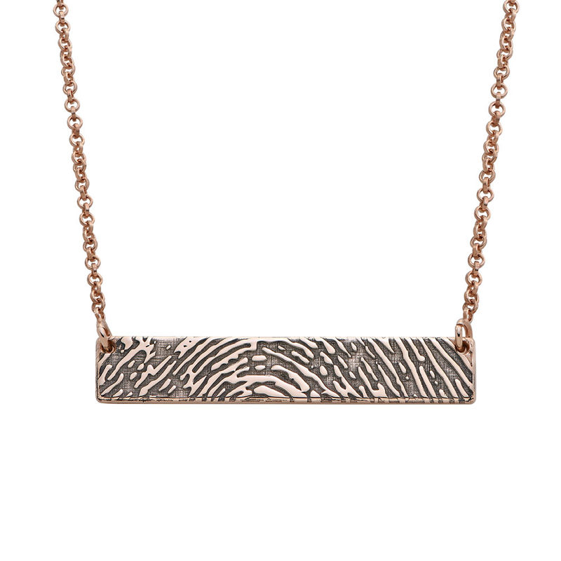 Fingerprint Bar Necklace with Back Engraving in 18ct Rose Gold Plating