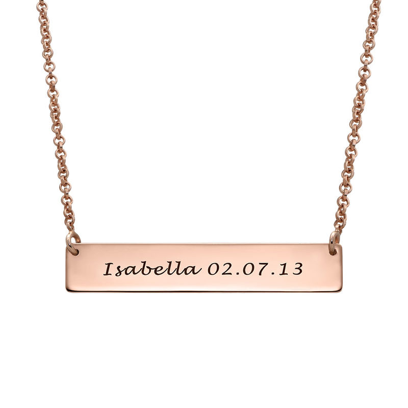Fingerprint Bar Necklace with Back Engraving in 18ct Rose Gold Plating - 1