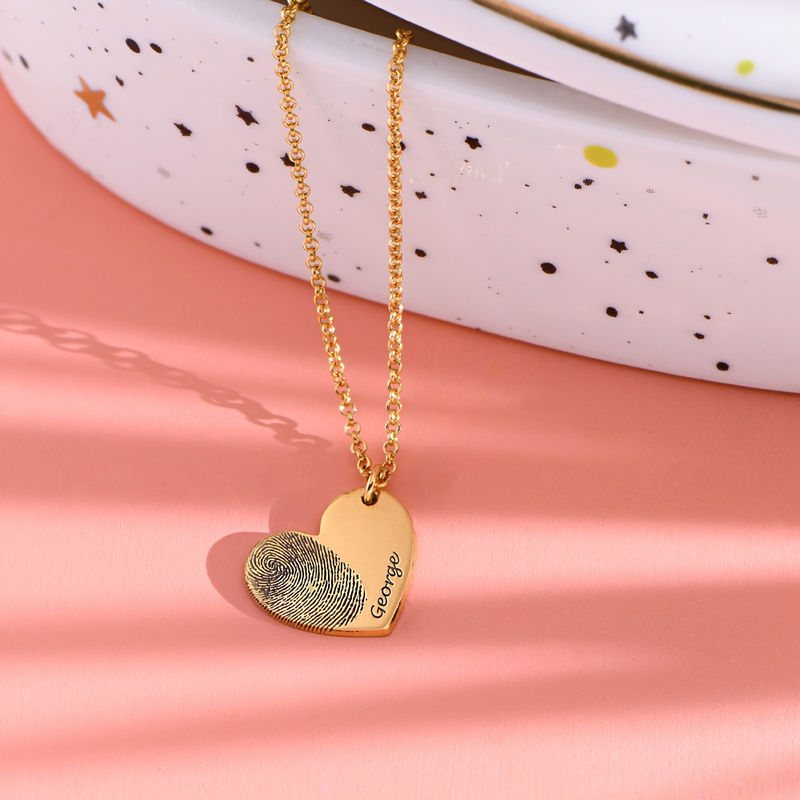 Fingerprint Heart Necklace in 18ct Gold Plating - 1