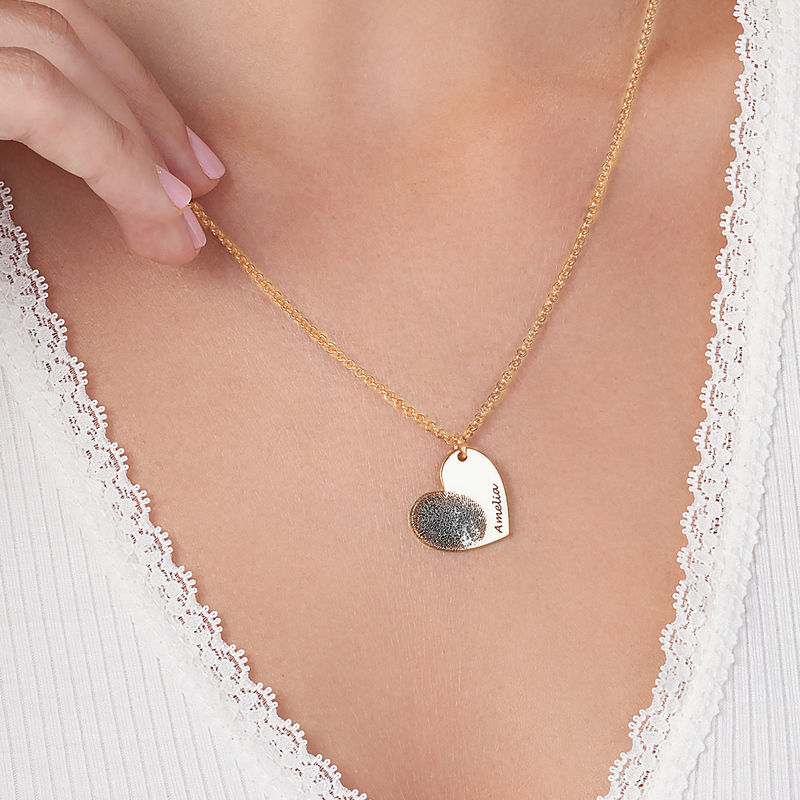 Fingerprint Heart Necklace in 18ct Gold Plating - 3