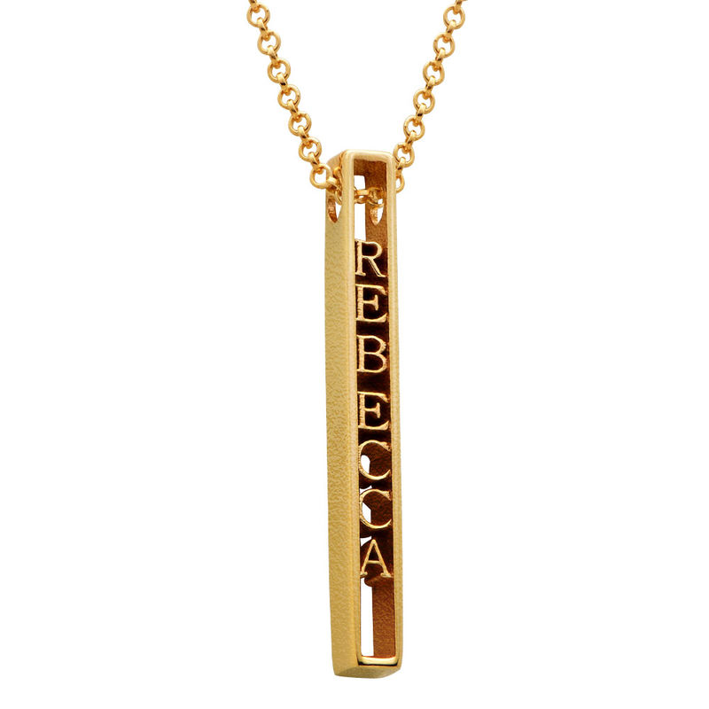 Personalised 3D Bar Necklace with 18ct Gold Plating