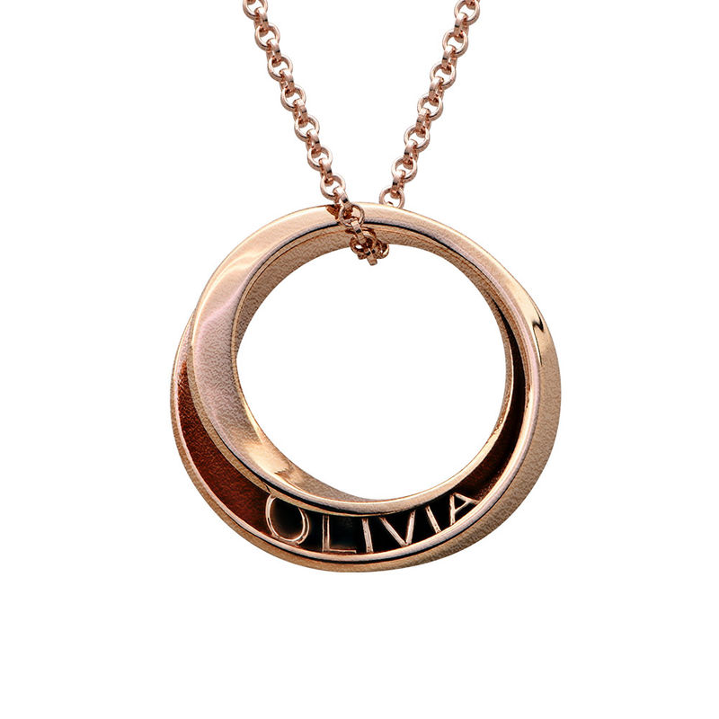 Personalised 3D Circle Necklace with Rose Gold Plating