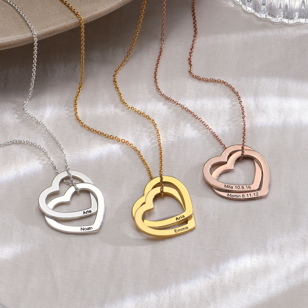 Interlocking Hearts Necklace  with 18ct Gold Plating - 1