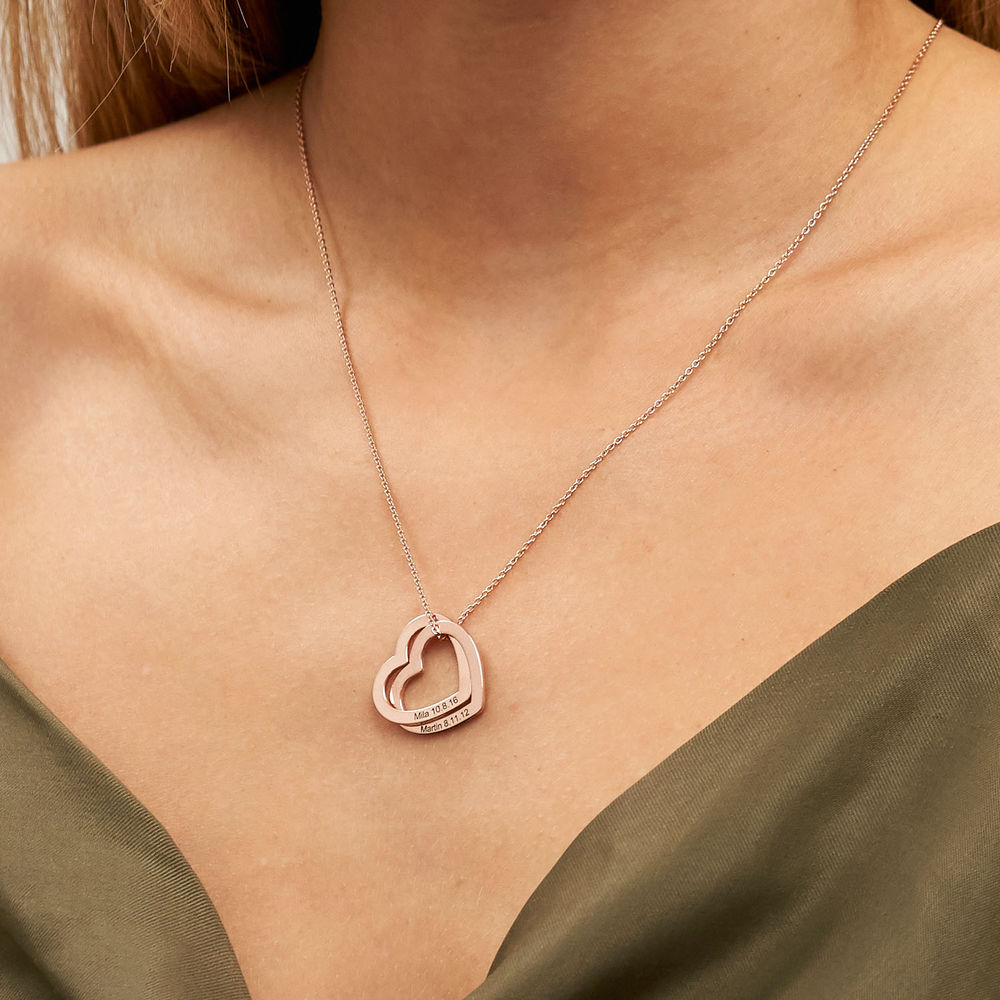 Interlocking Hearts Necklace with 18ct Rose Gold Plating - 3