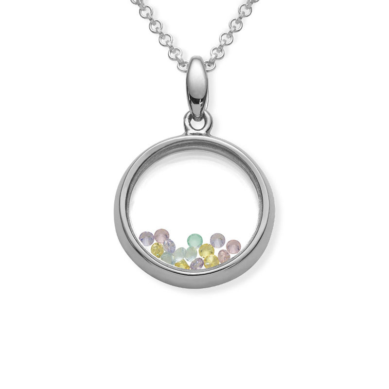 Round Shape Locket with Coloured Cubic Zirconia