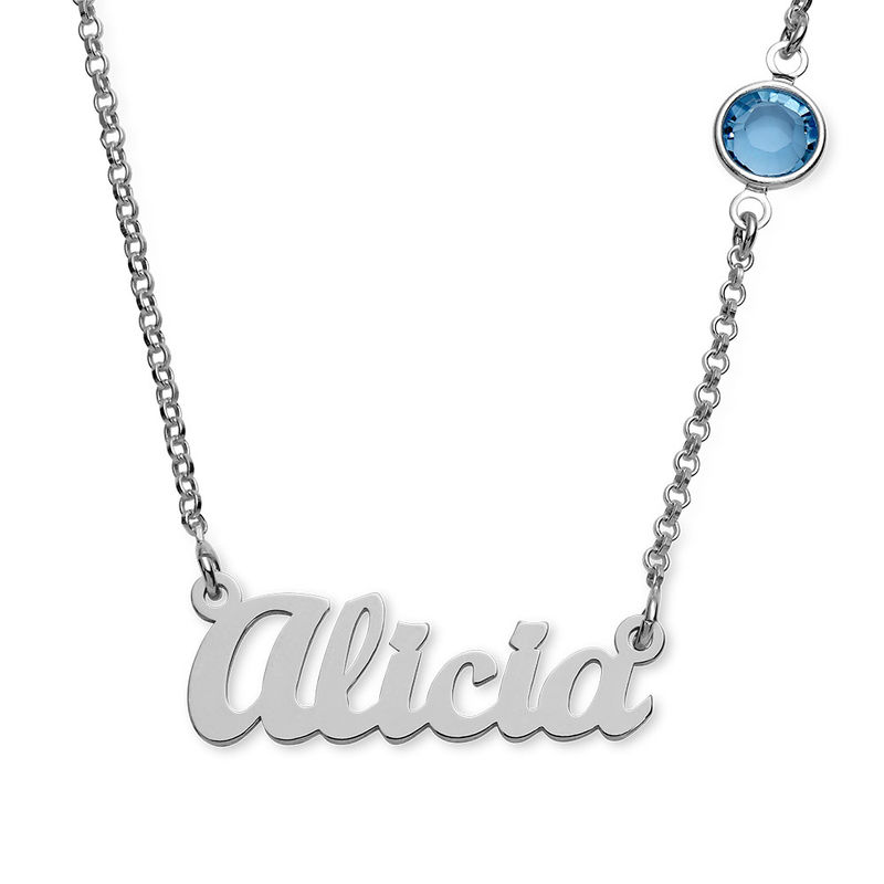 Name Necklace in Silver with One Birthstone
