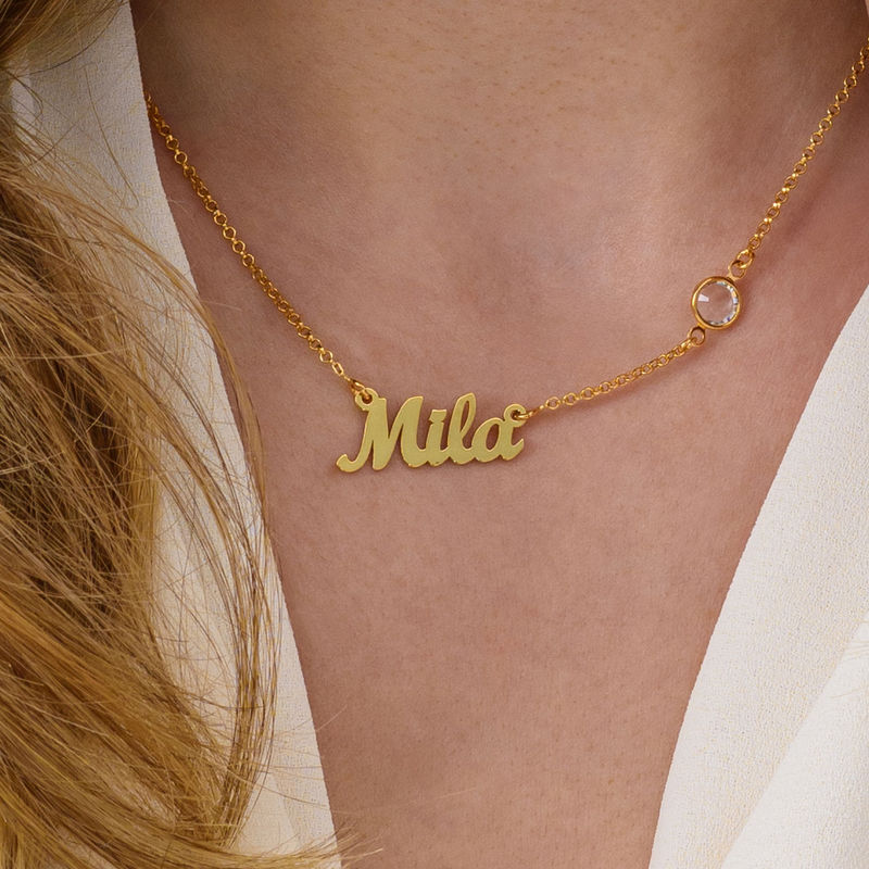 Name Necklace in Gold Plating with One Birthstone - 1 - 2