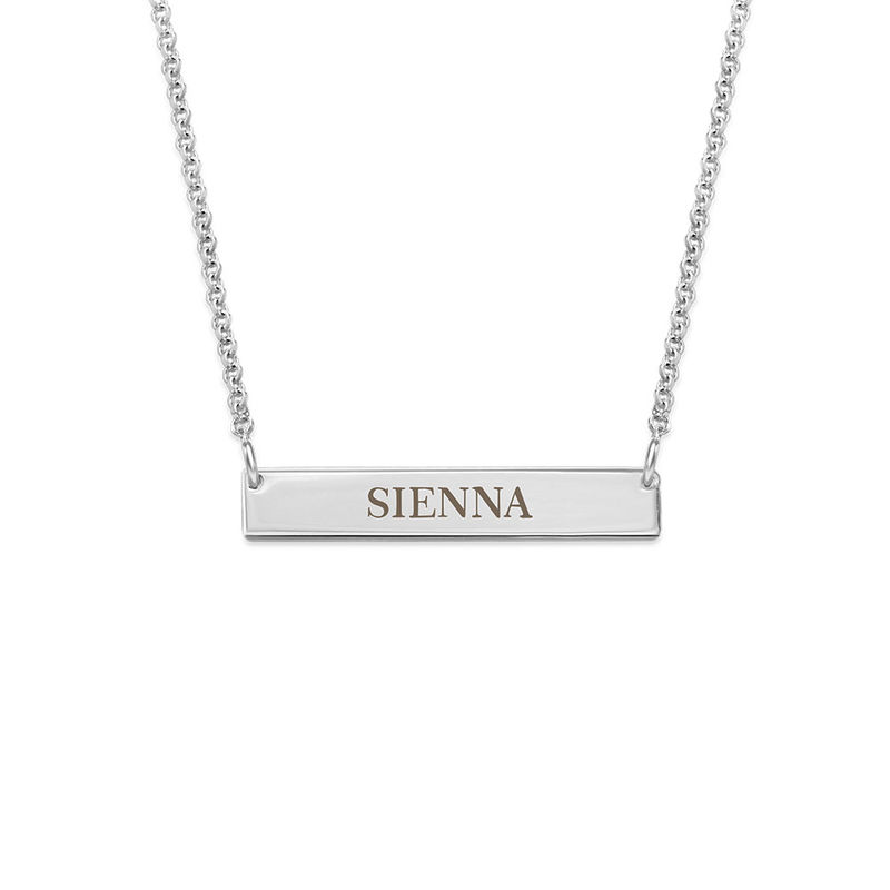 Tiny Sterling Silver Bar Necklace with Engraving for Teens