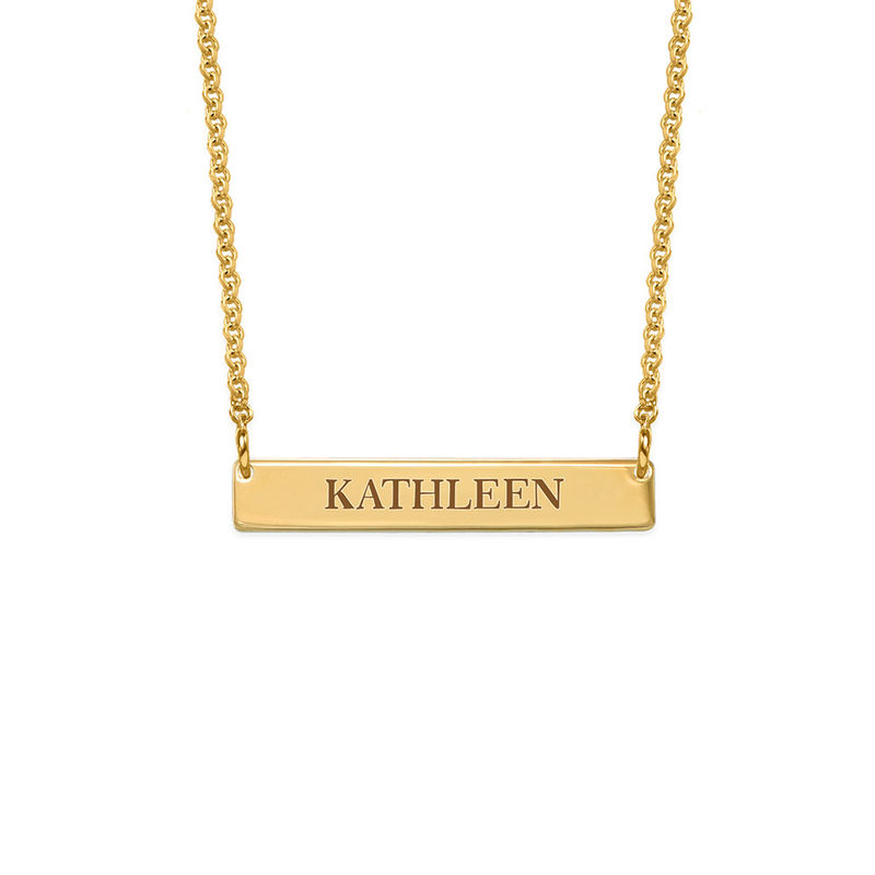Tiny 18ct Gold Plated Bar Necklace with Engraving for Teens